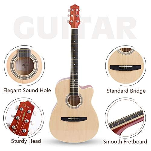 Acoustic Guitar Beginner Kid Guitar 38 Inch Steel Strings Guitar Starter Bundle Cutaway with Gig Bag Clip Tuner Strap 2 Picks and Wipe for Student Child Adult Learn to Play 7