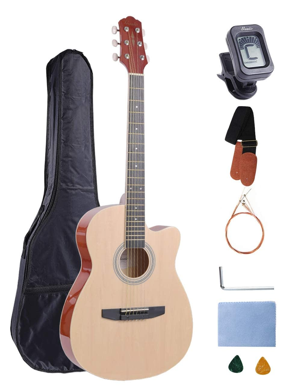 Acoustic Guitar Beginner Kid Guitar 38 Inch Steel Strings Guitar Starter Bundle Cutaway with Gig Bag Clip Tuner Strap 2 Picks and Wipe for Student Child Adult Learn to Play 8