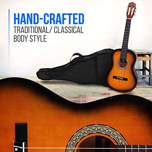 "Beginner 36"" Classical Acoustic Guitar – 3/4 Junior Size 6 String Linden Wood Guitar w/Gig Bag, Tuner, Nylon Strings, Picks, Strap, for Beginners, Adults – Pyle PGACLS82SUN (Sun Burst) 3"