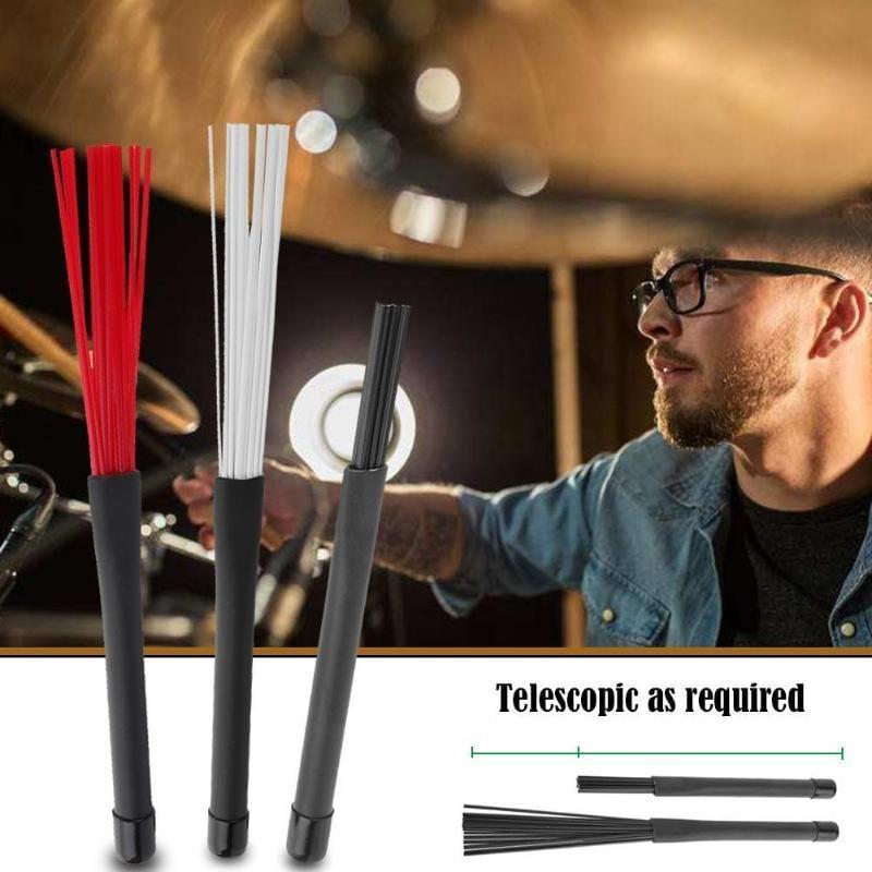 2pcs/set Retractable Nylon Jazz Drum Brushes 23cm Drum Sticks Percussion Drumsticks With Rubber Handles Musical Accessories|Parts & Accessories 2