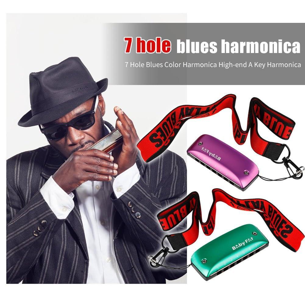 Baby Fat 7 Holes Blues Harmonicas A B C D F G Key Blues Jazz Rock Folk Music Musical Instrument 4
