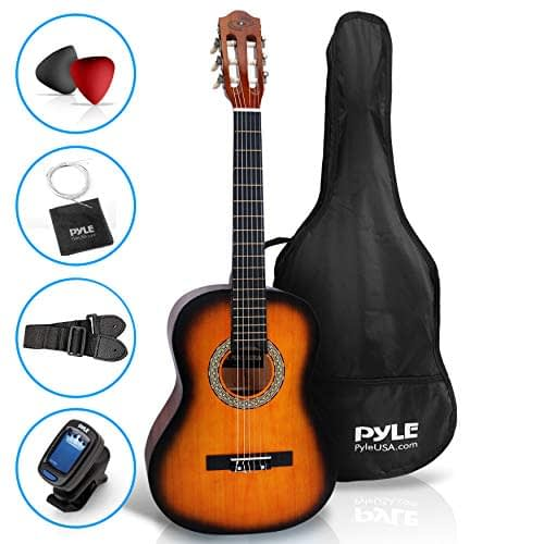 "Beginner 36"" Classical Acoustic Guitar – 3/4 Junior Size 6 String Linden Wood Guitar w/Gig Bag, Tuner, Nylon Strings, Picks, Strap, for Beginners, Adults – Pyle PGACLS82SUN (Sun Burst) 1"