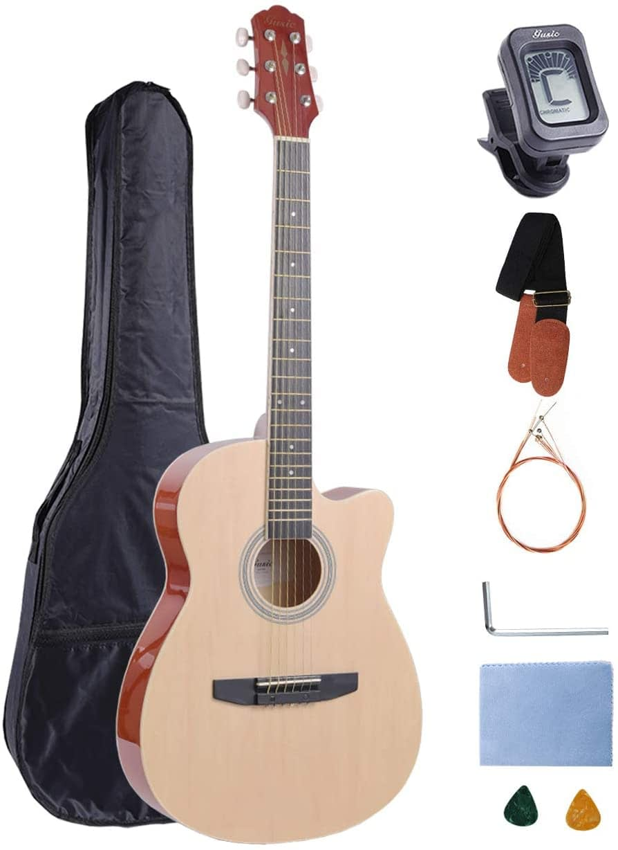 Acoustic Guitar Beginner Kid Guitar 38 Inch Steel Strings Guitar Starter Bundle Cutaway with Gig Bag Clip Tuner Strap 2 Picks and Wipe for Student Child Adult Learn to Play 17