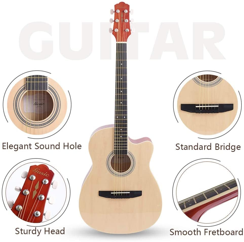 Acoustic Guitar Beginner Kid Guitar 38 Inch Steel Strings Guitar Starter Bundle Cutaway with Gig Bag Clip Tuner Strap 2 Picks and Wipe for Student Child Adult Learn to Play 21