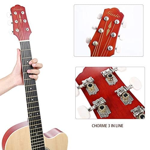 Acoustic Guitar Beginner Kid Guitar 38 Inch Steel Strings Guitar Starter Bundle Cutaway with Gig Bag Clip Tuner Strap 2 Picks and Wipe for Student Child Adult Learn to Play 6
