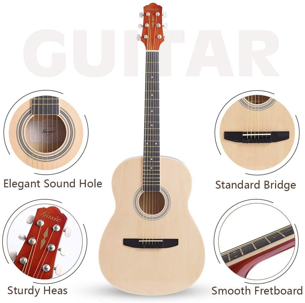 Acoustic Guitar Beginner Kid Guitar 38 Inch Steel Strings Guitar Starter Bundle Cutaway with Gig Bag Clip Tuner Strap 2 Picks and Wipe for Student Child Adult Learn to Play 15