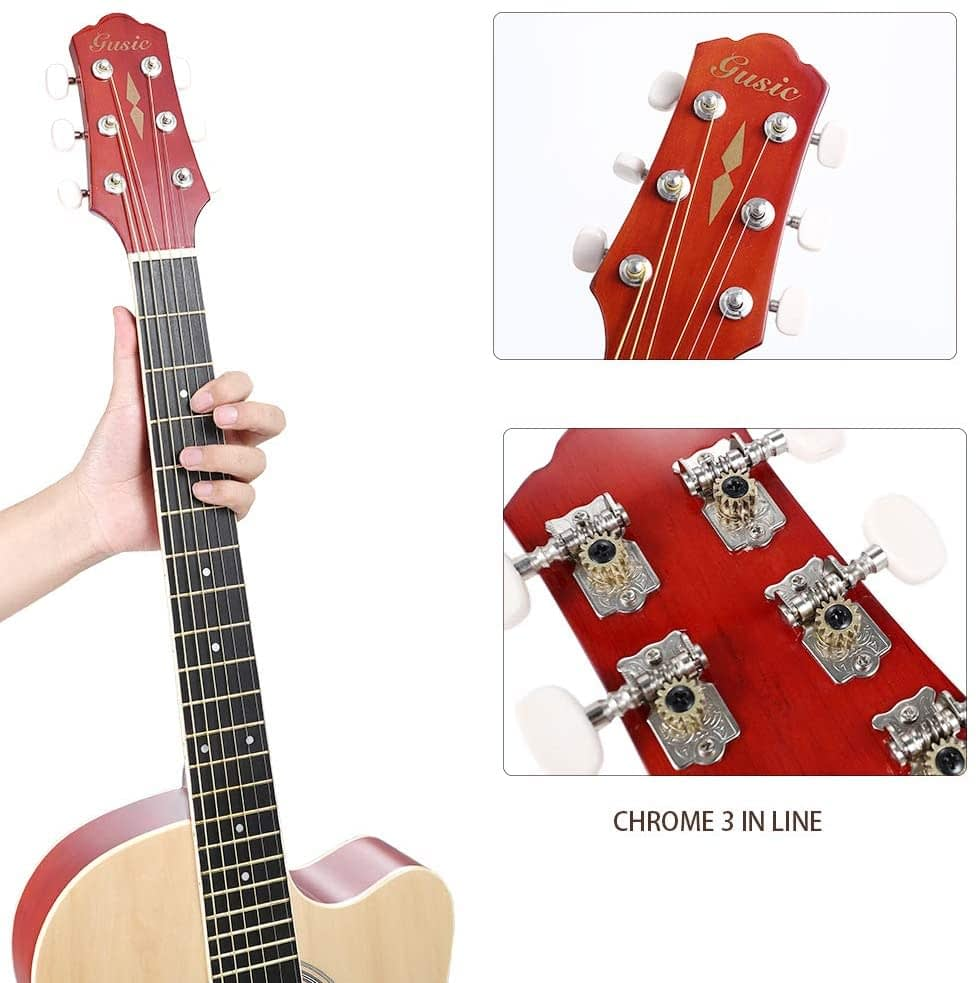 Acoustic Guitar Beginner Kid Guitar 38 Inch Steel Strings Guitar Starter Bundle Cutaway with Gig Bag Clip Tuner Strap 2 Picks and Wipe for Student Child Adult Learn to Play 14