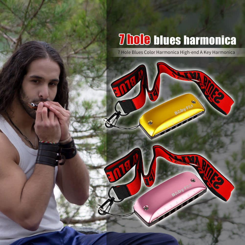Baby Fat 7 Holes Blues Harmonicas A B C D F G Key Blues Jazz Rock Folk Music Musical Instrument 2