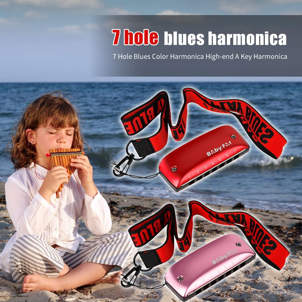 Baby Fat 7 Holes Blues Harmonicas A B C D F G Key Blues Jazz Rock Folk Music Musical Instrument 5