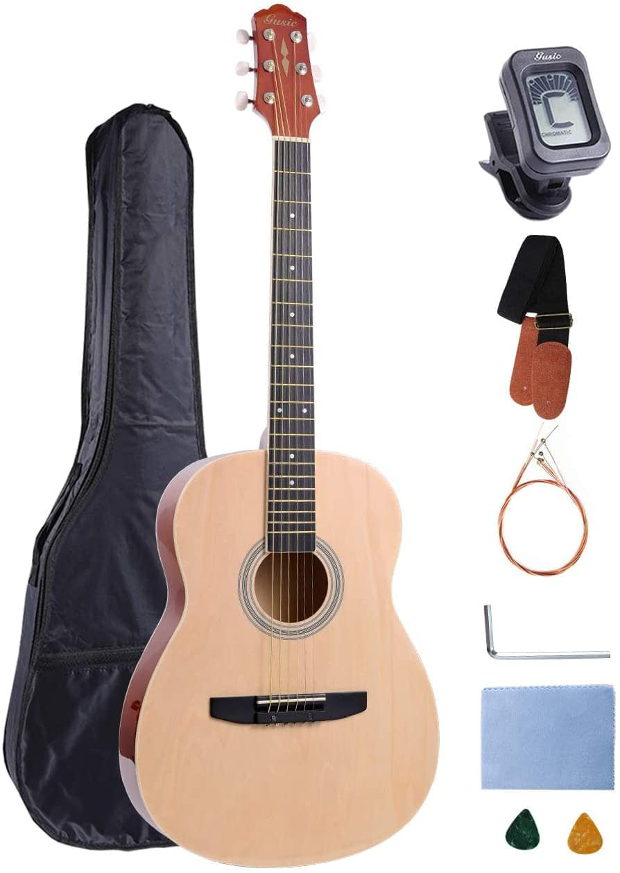 Acoustic Guitar Beginner Kid Guitar 38 Inch Steel Strings Guitar Starter Bundle Cutaway with Gig Bag Clip Tuner Strap 2 Picks and Wipe for Student Child Adult Learn to Play 9