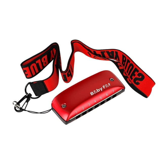 A B C D F G Key Harmonicas Music Musical Instrument 7 Holes Blues Jazz Rock Folk for Music Lovers Playing Accessory – Red 7